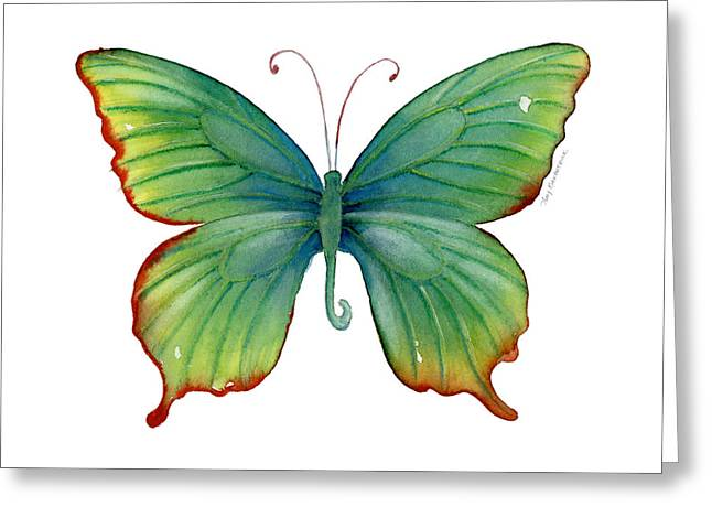 Red And Green Greeting Cards - 74 Green Flame Tip Butterfly Greeting Card by Amy Kirkpatrick