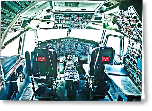 747 Greeting Cards - 747 Cockpit 6 Greeting Card by Micah May