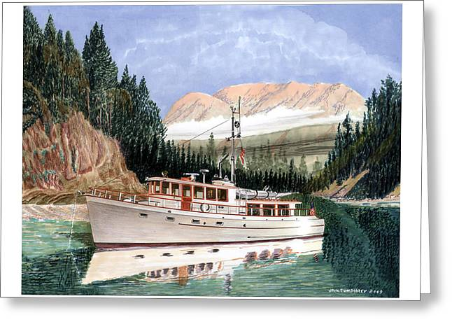 75 foot classic bridgrdeck yacht Greeting Card by Jack Pumphrey