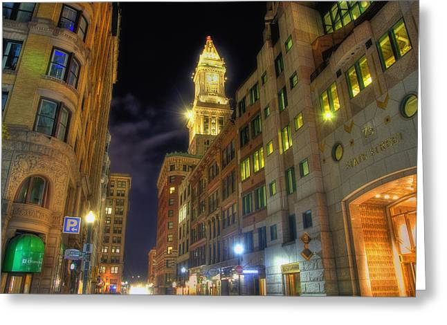 Night Scenes Greeting Cards - 75 State Street - Boston Greeting Card by Joann Vitali