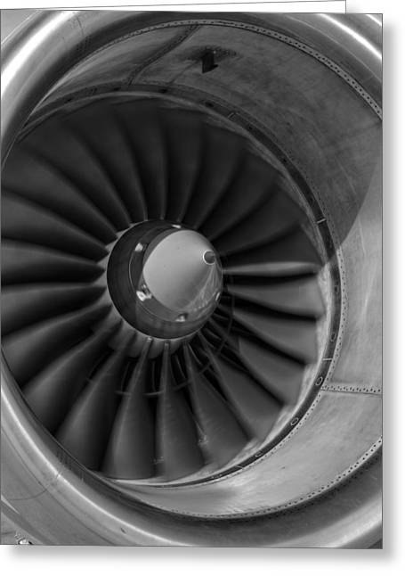 Jet Print Greeting Cards - 757 Engine Black and White Greeting Card by Ricky Barnard