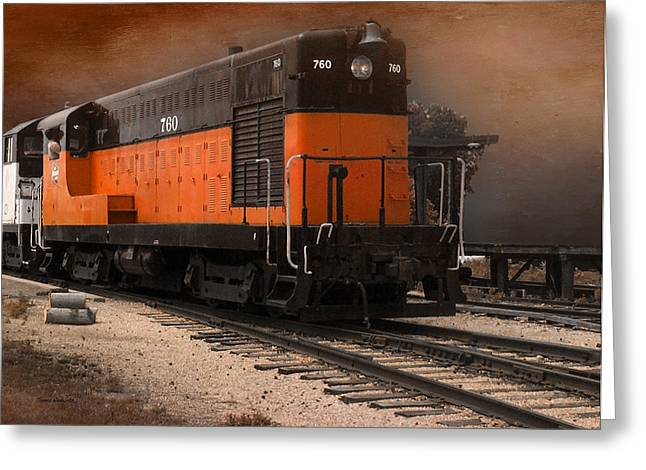 760 Train Engine Approaching Textured Greeting Card by Thomas Woolworth