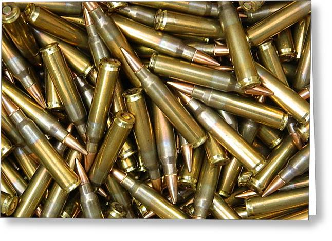 Ak47 Greeting Cards - 762 Ammo Cell Case And Canvas Greeting Card by Shane Dufoe