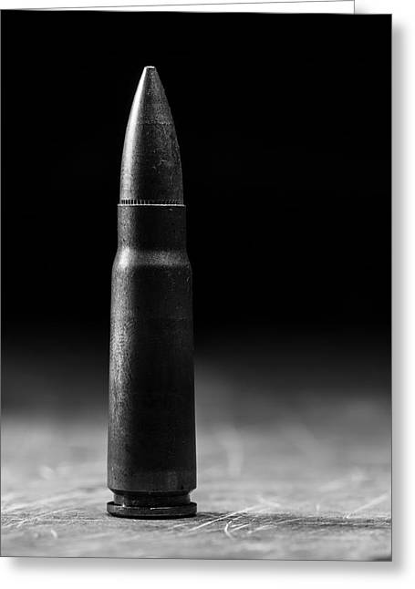 Ak 47 Greeting Cards - 7.62 x 39mm Black and White Greeting Card by Andrew Pacheco