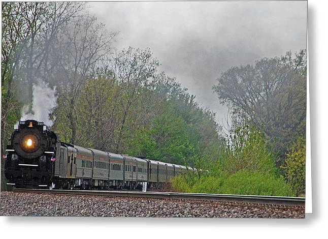 21st Greeting Cards - Nickel Plate 2-8-4 steam engine #765 Greeting Card by Vonnie Murfin