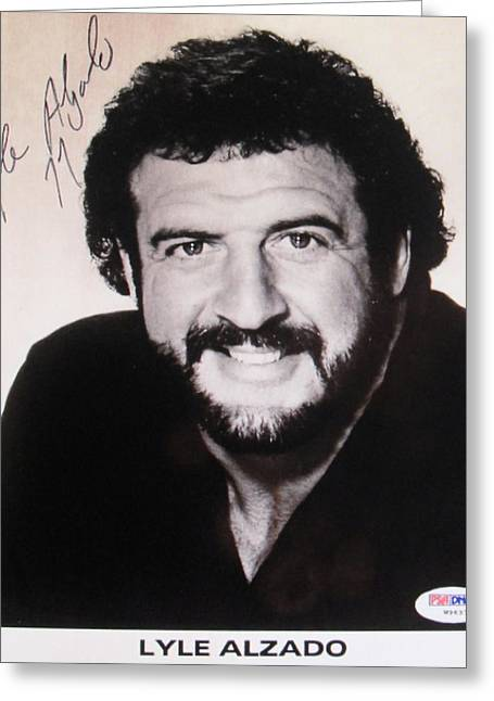 Autographed Photographs Greeting Cards - Los Angeles Raiders #77 Lyle Alzado Greeting Card by Donna Wilson