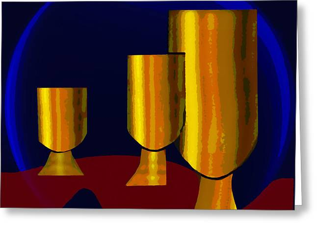 Tumbler Greeting Cards - 777 -  Golden Goblets Greeting Card by Irmgard Schoendorf Welch