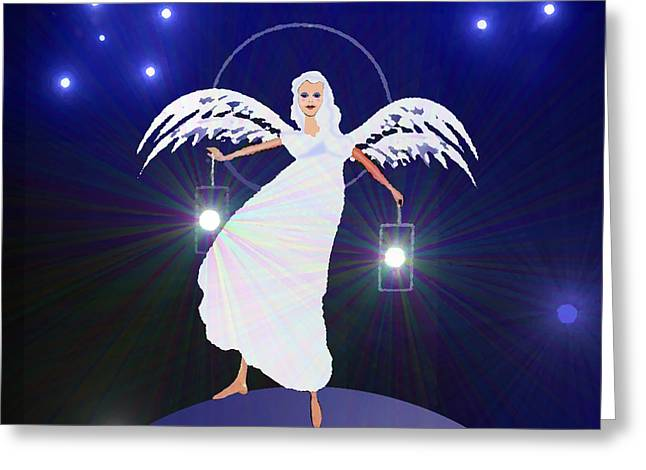 Angel With Star Greeting Cards - 783 - Angel with two lanterns   Greeting Card by Irmgard Schoendorf Welch