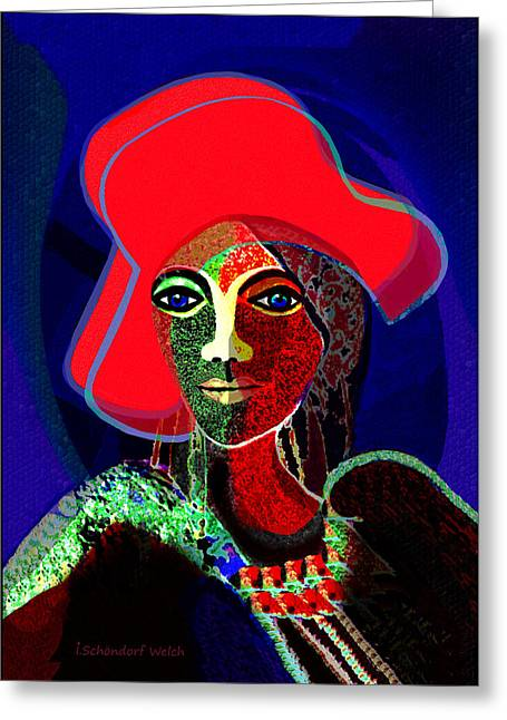 Occasion Digital Greeting Cards - 784 -   Red hat   Greeting Card by Irmgard Schoendorf Welch