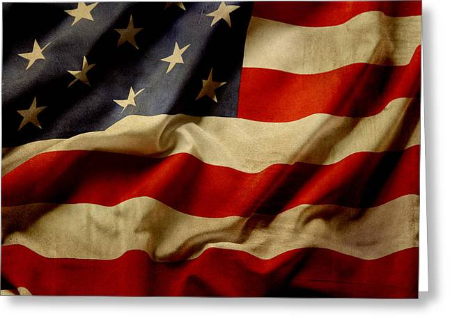 Celebrating Freedom Greeting Cards - American flag Greeting Card by Les Cunliffe