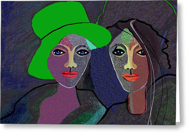 Green Hat Art Greeting Cards - 795 - Wearing A Green Hat Greeting Card by Irmgard Schoendorf Welch