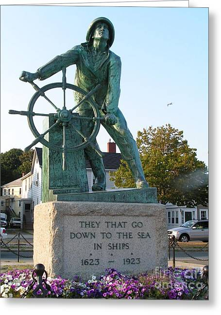 Ocean Photography Greeting Cards - #796 D332 Man at the Wheel Gloucester Massachusetts Fishermans Memorial Greeting Card by Robin Lee Mccarthy Photography