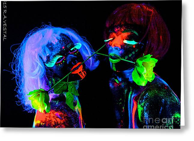 People Greeting Cards - Neon Greeting Card by Ron Vestal