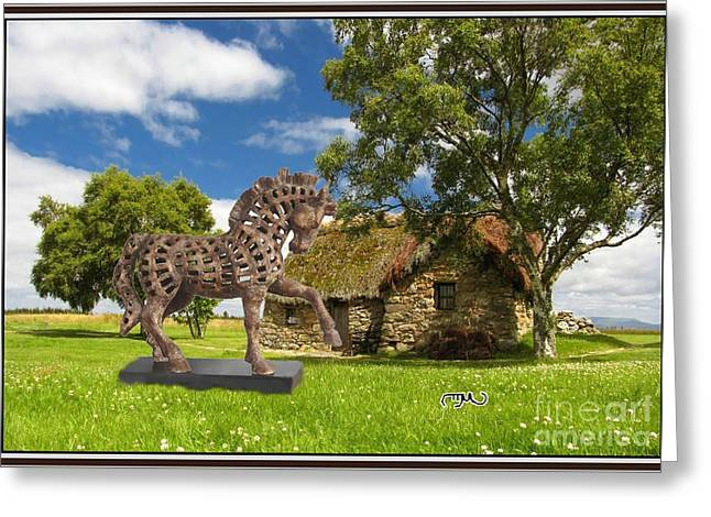 Digital Sculptures Greeting Cards - Equestrian statue in the park ESITP1 Greeting Card by Pemaro