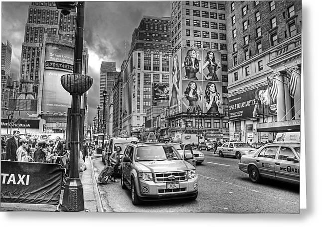 Taxi Stands Greeting Cards - 7th Ave. Greeting Card by Joe Quinn