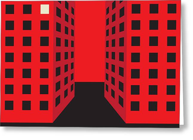 Red Buildings Drawings Greeting Cards - 7th Floor Greeting Card by Igor Kislev