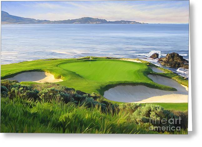 7th Greeting Cards - 7th Hole At Pebble Beach Greeting Card by Tim Gilliland