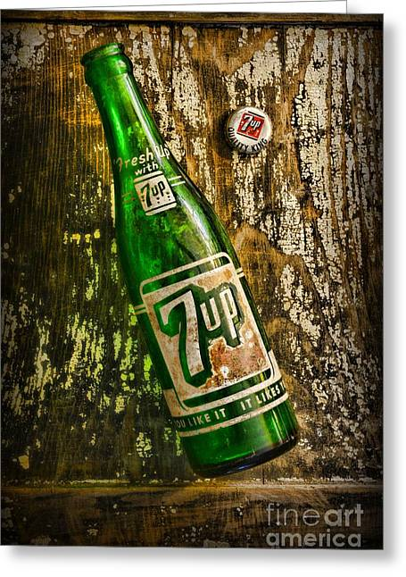 Paint It Greeting Cards - 7up Soda Bottle Greeting Card by Paul Ward