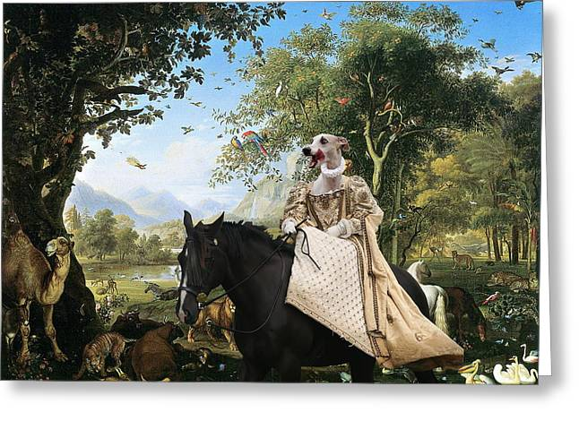 Whippet Greeting Cards -  Whippet  Art Canvas Print  Greeting Card by Sandra Sij