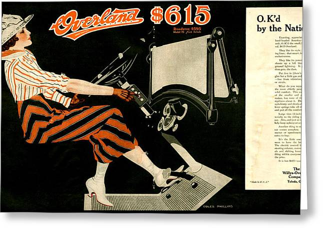 1916 Drawings Greeting Cards - 1910s Usa Willys-overland Magazine Greeting Card by The Advertising Archives