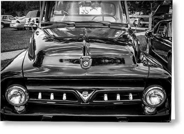 53 Greeting Cards - 1953 Ford F100 Pickup Truck BW  Greeting Card by Rich Franco