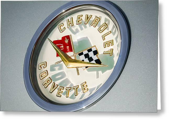 1960 Greeting Cards - 1960 Chevrolet Corvette Emblem Greeting Card by Jill Reger