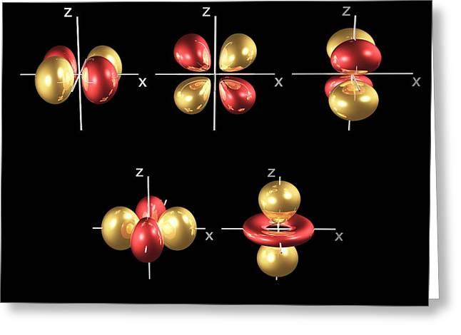 Electron Orbital Greeting Cards - 3d Electron Orbitals Greeting Card by Dr. Mark J. Winter