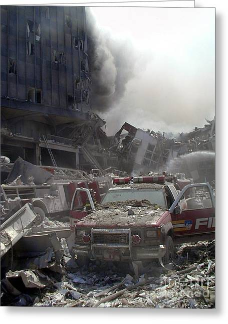 Wtc 11 Greeting Cards - 9-11-01 WTC Terrorist Attack Greeting Card by Steven Spak