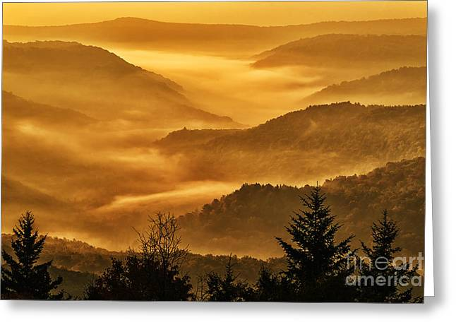 Scenic Highway Greeting Cards - Allegheny Mountain Sunrise Greeting Card by Thomas R Fletcher