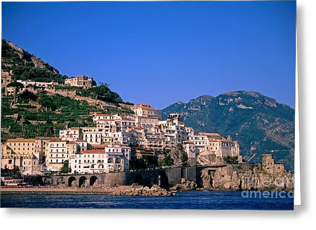 Town Greeting Cards - Amalfi town in Italy Greeting Card by George Atsametakis