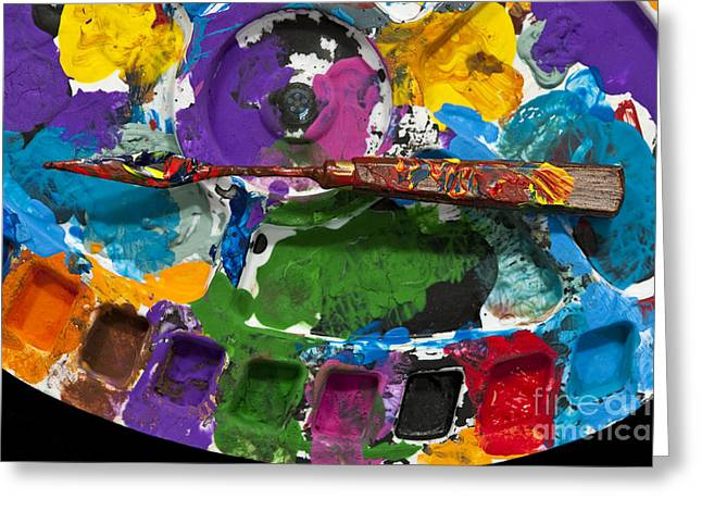 Acrylic Art Greeting Cards - Artist Palette With Paint Knife Greeting Card by Jim Corwin