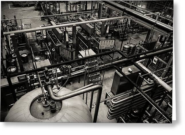 Manufacturing Pyrography Greeting Cards - Beer factory interior Greeting Card by Oliver Sved