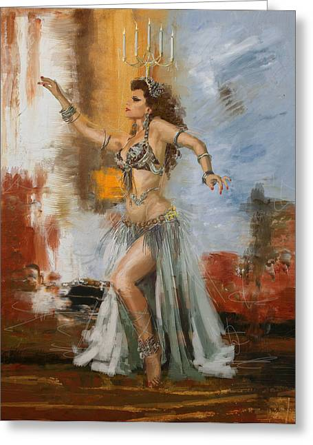 Belly Greeting Cards - Abstract Belly Dancer 20 Greeting Card by Corporate Art Task Force