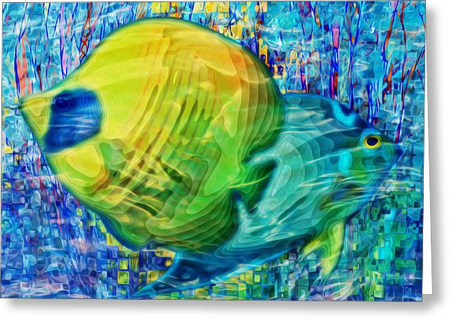 Salmon Pink Greeting Cards - Beneath The Waves Series Greeting Card by Jack Zulli