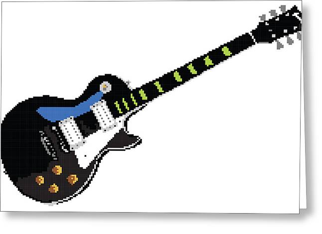 8 Bit Greeting Cards - 8 Bit Gibson Les Paul Greeting Card by Lesley DeHaan