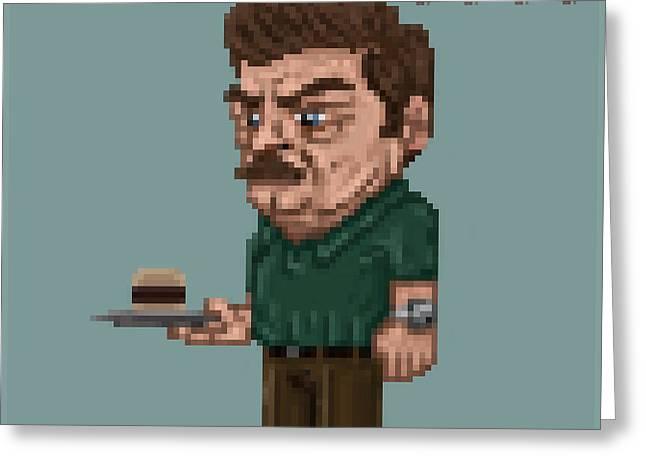 8 Bit Greeting Cards - 8-Bit Ron Swanson Greeting Card by Michael Tiscareno
