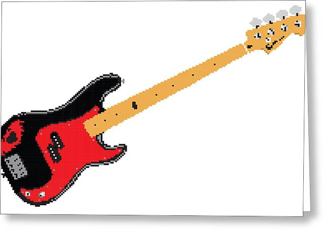 8 Bit Greeting Cards - 8 Bit Squier Signature Bass Greeting Card by Lesley DeHaan