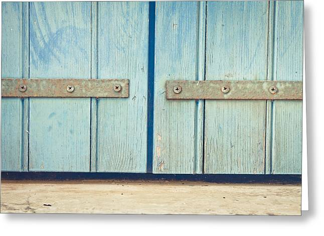Weathered Shutters Greeting Cards - Blue door Greeting Card by Tom Gowanlock
