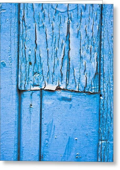 Dark Wood Table Greeting Cards - Blue wood Greeting Card by Tom Gowanlock