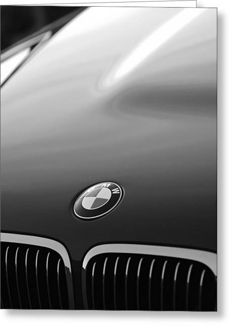 Classic Car Images Greeting Cards - BMW Hood Emblem Greeting Card by Jill Reger