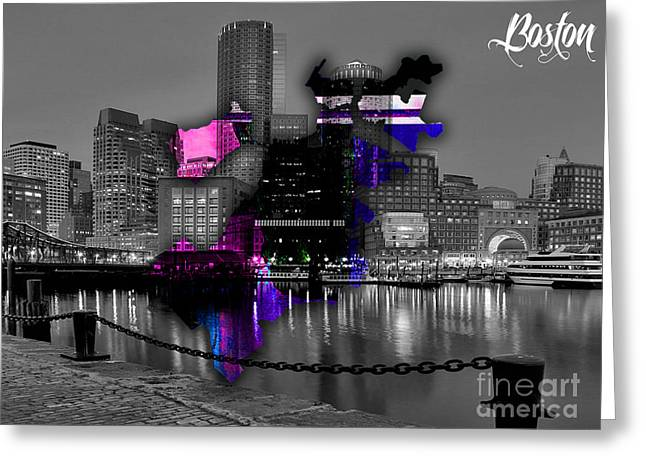 Boston Map And Skyline Watercolor Greeting Card by Marvin Blaine