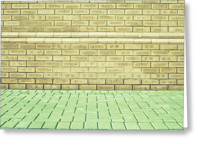 Interior Scene Photographs Greeting Cards - Brick wall Greeting Card by Tom Gowanlock