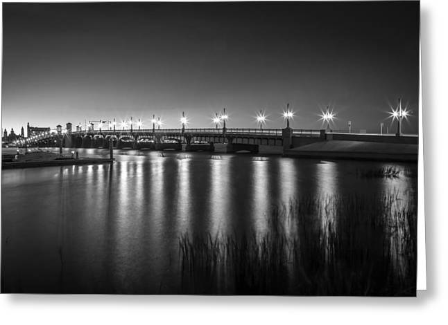 Lions Gate Bridge Greeting Cards - Bridge of Lions St Augustine Florida Painted BW Greeting Card by Rich Franco