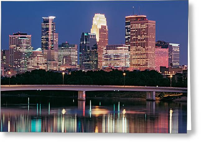 Mississippi River Scene Greeting Cards - Buildings Lit Up At Night In A City Greeting Card by Panoramic Images