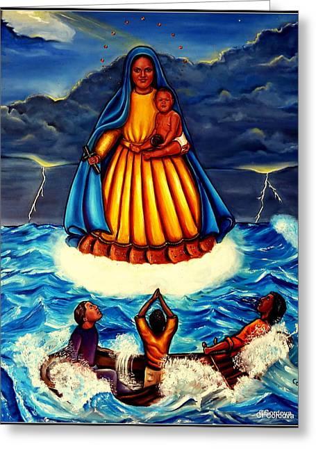 Baby Jesus Mixed Media Greeting Cards - Caridad del Cobre Greeting Card by Carmen Cordova