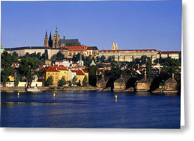 Vltava Greeting Cards - Charles Bridge Prague Czech Republic Greeting Card by Panoramic Images