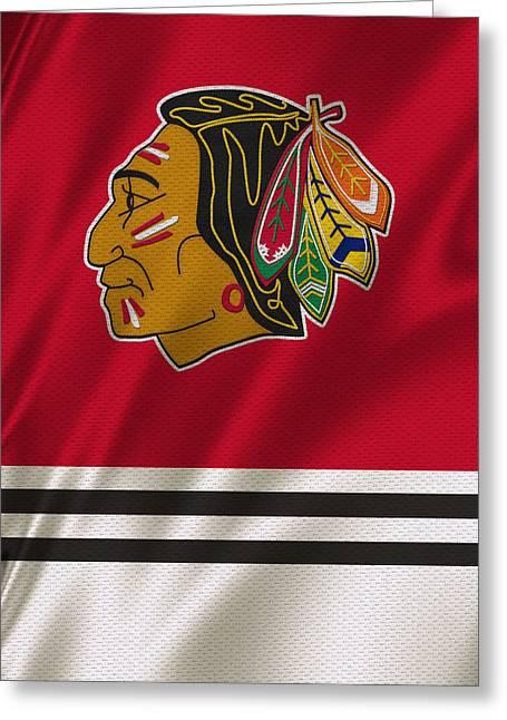 Recently Sold -  - Player Greeting Cards - Chicago Blackhawks Uniform Greeting Card by Joe Hamilton