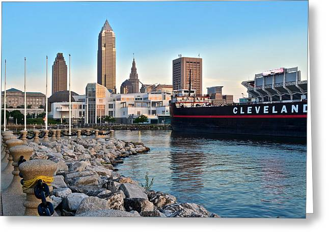 Twilight Greeting Cards - Cleveland Ohio Greeting Card by Frozen in Time Fine Art Photography