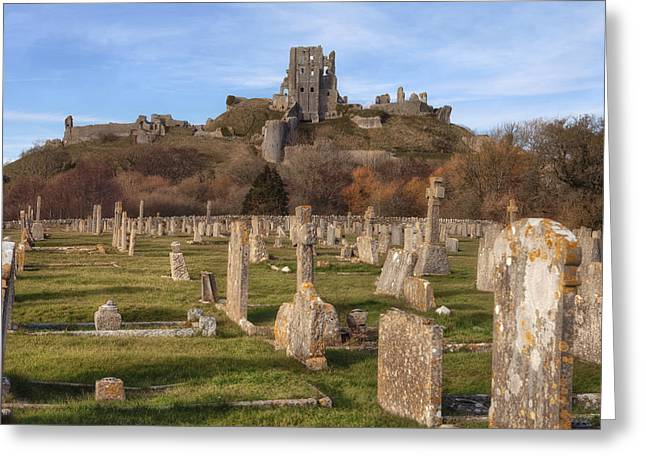 Conqueror Greeting Cards - Corfe Castle Greeting Card by Joana Kruse