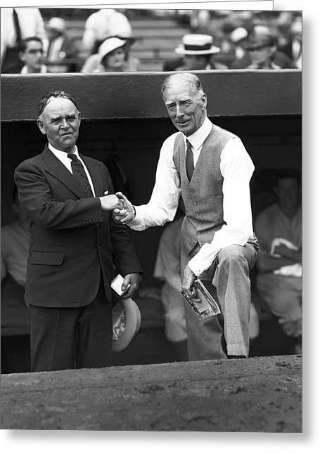 Shaking Hands Greeting Cards - Cornelius Connie Mack Greeting Card by Retro Images Archive